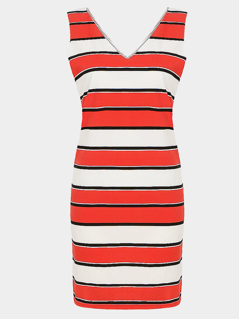 V-Neck Stripe Sleeveless Mini Dress