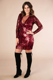 Long Sleeve Sequin Mini Dress  In Burgundy - Phoebe Jane