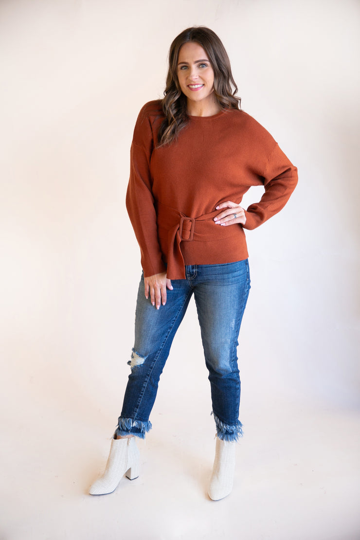 Mandy Belted Sweater - Phoebe Jane