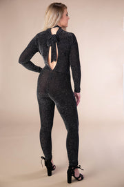 Semi Sheer Metallic Jumpsuit With Halter Neck In Black And Silver - Phoebe Jane
