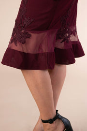 Mermaid Dress With Lace and Ruffle Trim Detail In Wine - Phoebe Jane