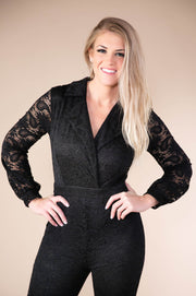 Crochet Lace Jumpsuit With Back Gold Zip Detailing In Black - Phoebe Jane