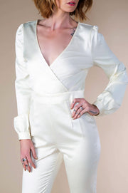 Satin Wrap Jumpsuit In Cream - Phoebe Jane