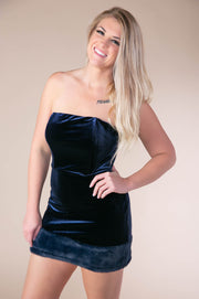 Fur Hemline Velvet Mini Dress In Navy - Phoebe Jane