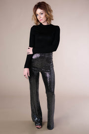Sequin Bell Bottom Pants In Black - Phoebe Jane