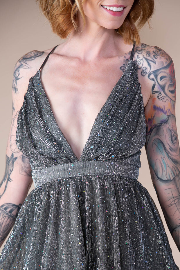 Sparkle Cross Back Mini Dress In Silver - Phoebe Jane