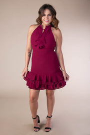 Sleeveless Dress With Ruffled Hem Detail In Wine - Phoebe Jane