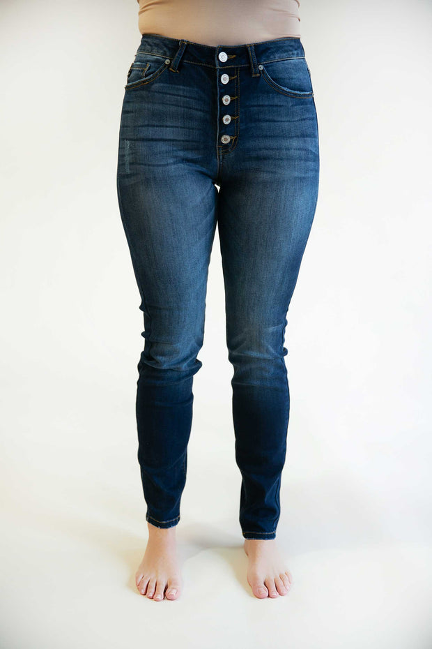 Zoey Button Fly Straight Leg Jeans - Phoebe Jane