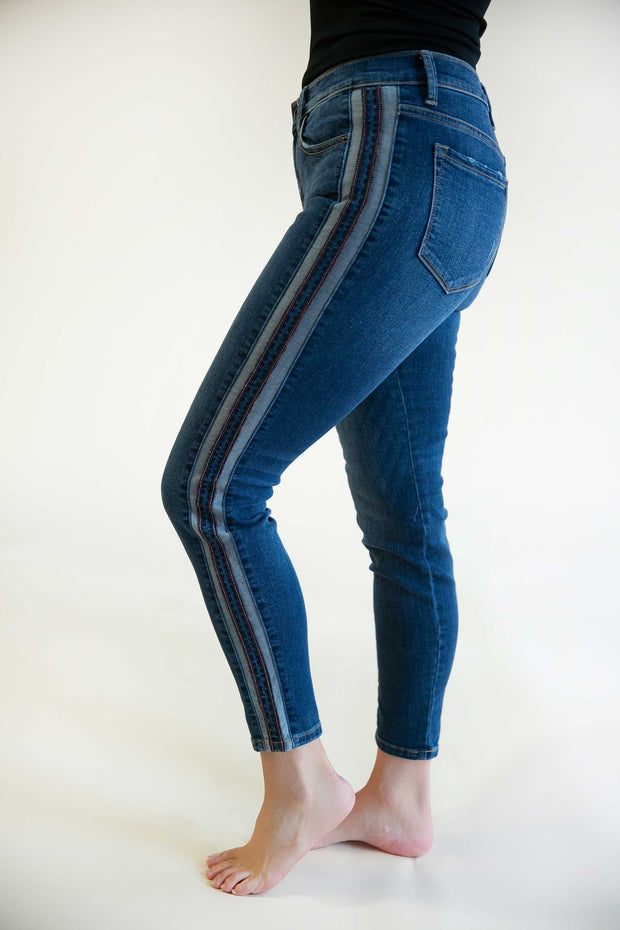 Aria Mid-Rise Side Striped Jeans - Phoebe Jane