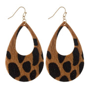 Leopard Print Teardrop Cutout Earrings - Phoebe Jane