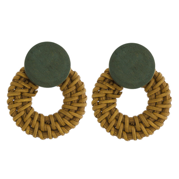 Wooden And Wicker Hoop  Stud Earrings In Mustard/Green - Phoebe Jane