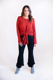 Danica Long Sleeve Front Tie Top - Phoebe Jane