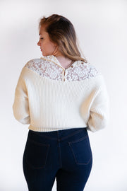 Janette Dolman Sleeve Lace Mock Neck Sweater - Phoebe Jane