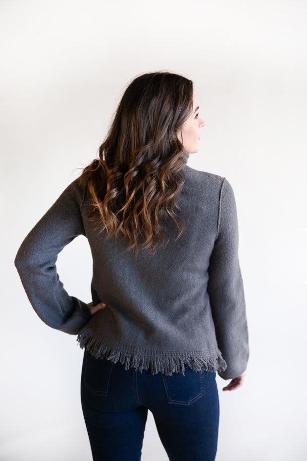 Janet Cowl Neck Fringe Sweater - Phoebe Jane