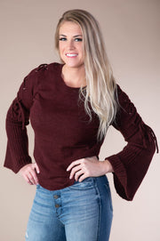 Avery Lace Up Bell Sleeve Sweater - Phoebe Jane