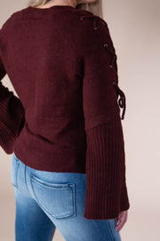 Hem And Thread - Rib Knit Lace Up Bell Sleeve Sweater In Merlot - Phoebe Jane