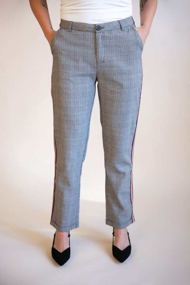 Terese Side Stripe Plaid Pants - Phoebe Jane