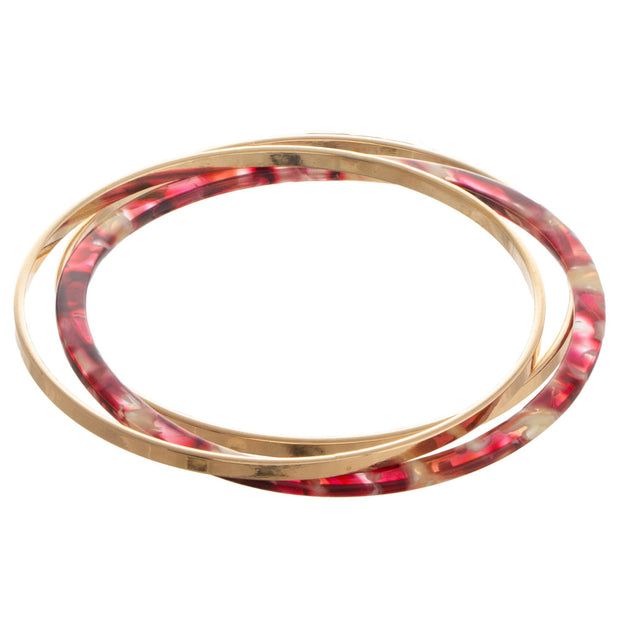 Gold Tone Metal And Acetate Bangle Bracelet Set In Raspberry - Phoebe Jane