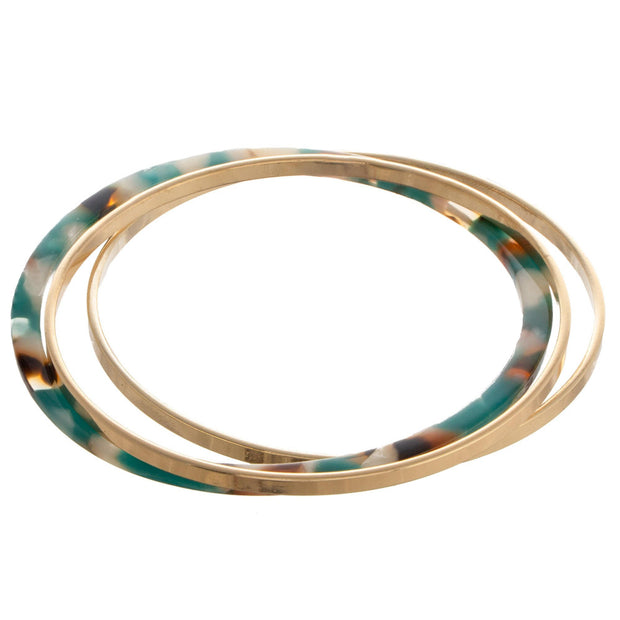 Gold Tone Metal And Acetate Bangle Bracelet Set In Teal - Phoebe Jane