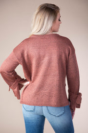 Hem And Thread - Tie Sleeve Pullover Side Slit Sweater In Mauve - Phoebe Jane