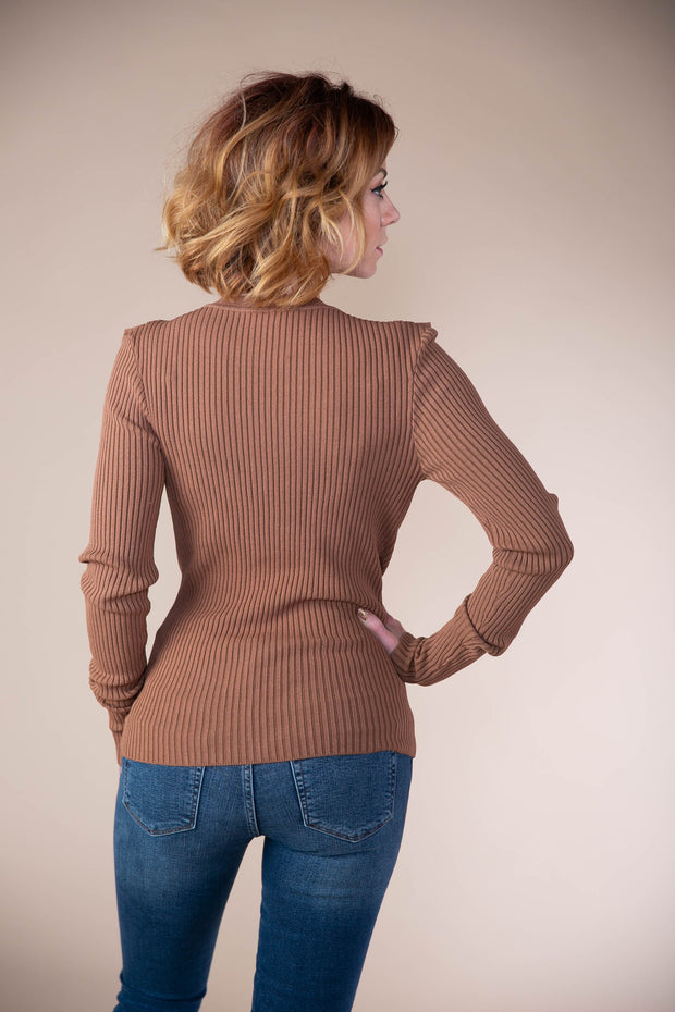 Storia - Solid Ribbed Knit V-Neck Cardigan With Ruffle Detailing In Brown - Phoebe Jane