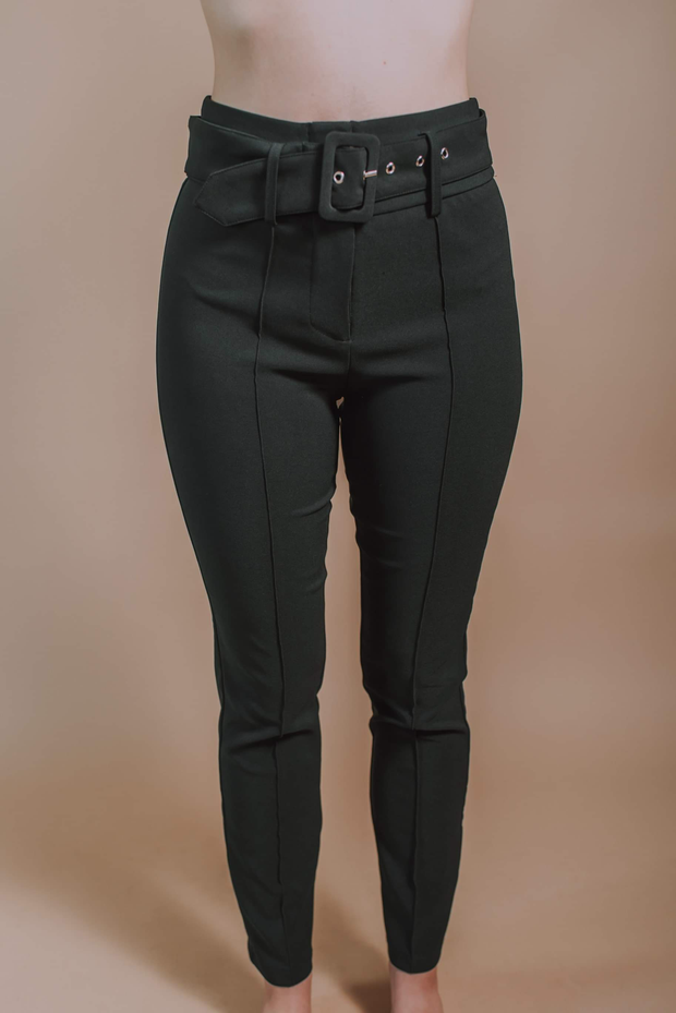 Center Seamed Fitted Pants In Black - Phoebe Jane