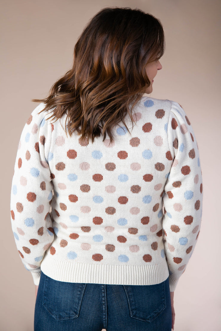Storia - Polka Dot Long Sleeve Sweater In Ivory Multi - Phoebe Jane