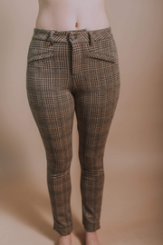 Glen Plaid Stretch Knit Pants - Black/Taupe - Phoebe Jane