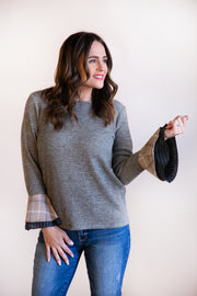 Martha 3/4 Sleeve Plaid Ruffle Cuff Top - Phoebe Jane