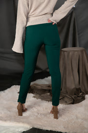 High Waist Cigarette Trousers In Hunter Green - Phoebe Jane