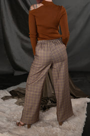 Tattersall Checked Wide Leg Pants In Mustard - Phoebe Jane