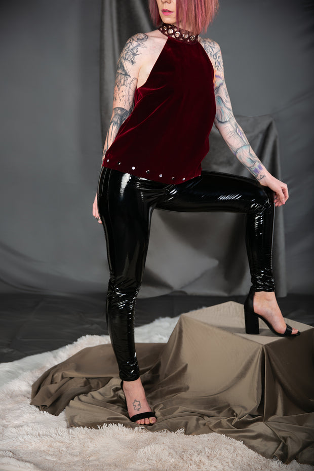 Patent High Waist Pants In Black - Phoebe Jane