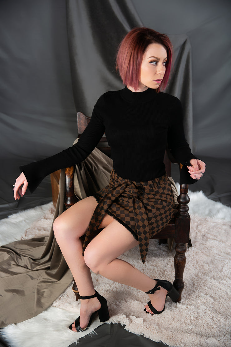 Judith March Check Mate Wrap Skirt In Black And Brown - Phoebe Jane