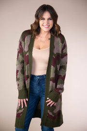 Hem And Thread - Midi Length Open Cardigan In Camouflage - Phoebe Jane