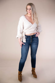 Twist Tie Waist Elongated Cuff V Neck Sweater In Oatmeal - Phoebe Jane