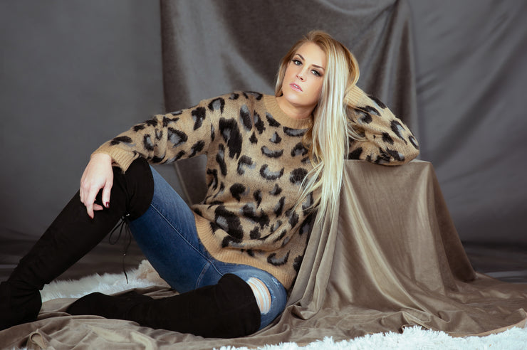 Leopard Print Sweater In Taupe - Phoebe Jane