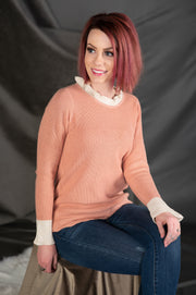 Contrast Ruffle Neck Bell Sleeve Sweater in Light Pink - Phoebe Jane