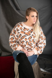 Soft Fur Animal Print Round Neck Pullover Sweater In Blush - Phoebe Jane