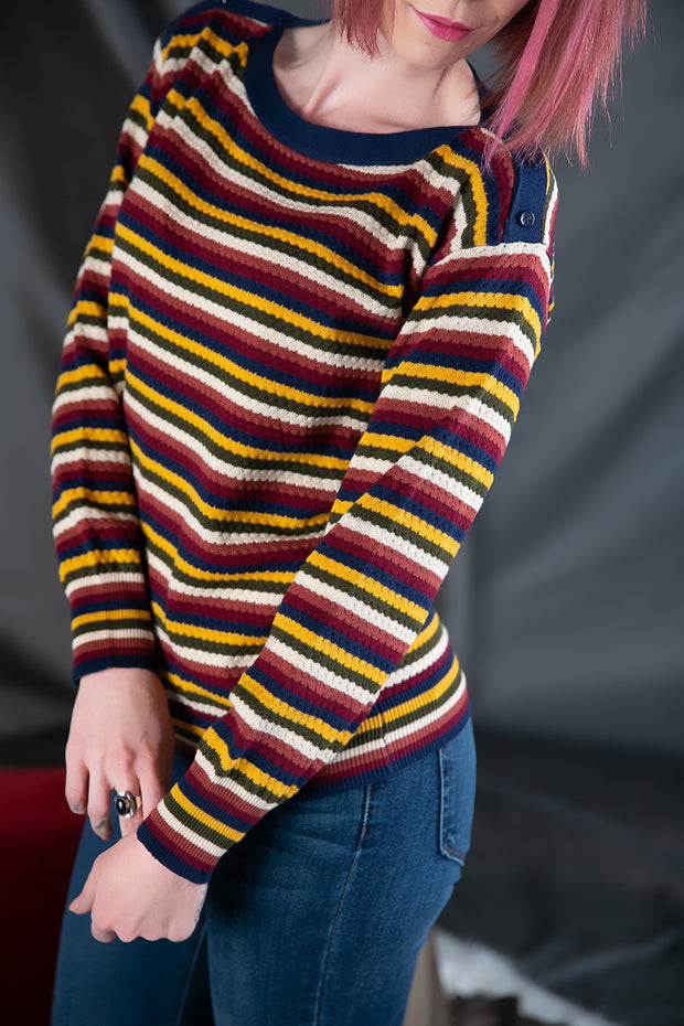 Multi Striped Knit Pullover with Buttons in Navy/Mustard/Red - Phoebe Jane