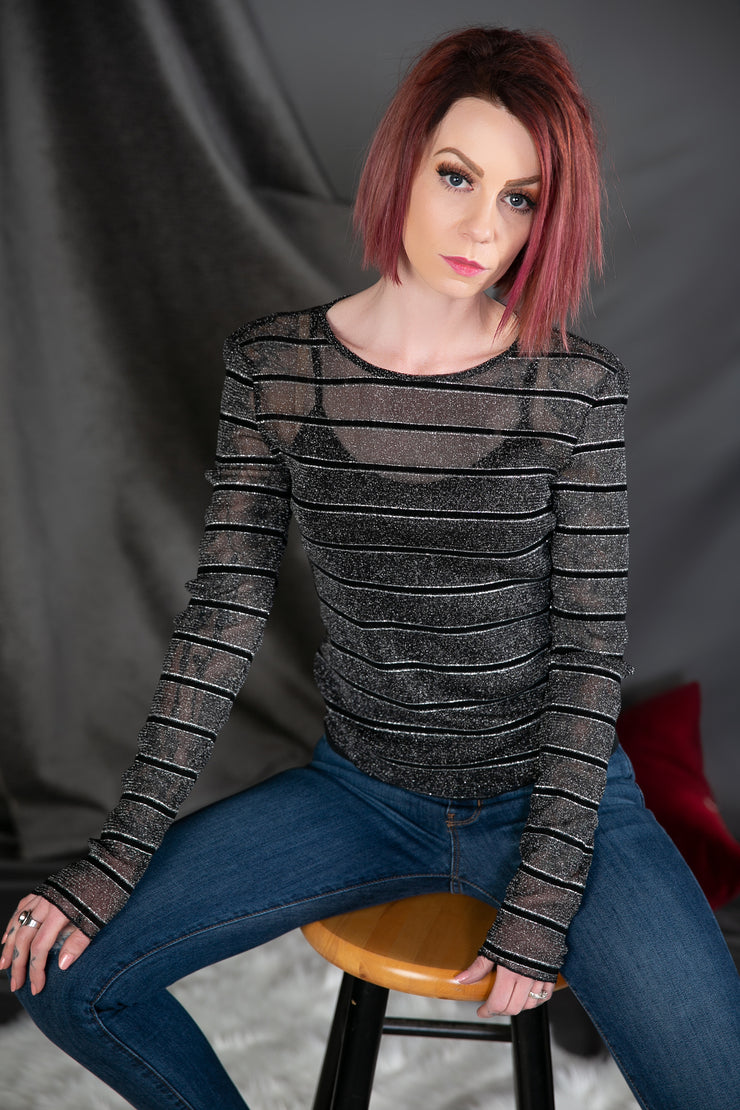 Long Sleeve Sheer Top With Black And Silver Stripes in Black/Silver