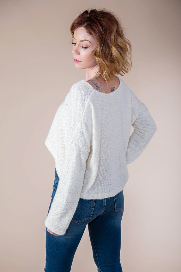 Storia - Soft V-Neck Sweater In Ivory - Phoebe Jane