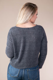 Storia - Soft V-Neck Sweater In Charcoal - Phoebe Jane