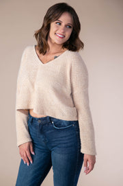 Storia - Soft V-Neck Sweater In Apricot - Phoebe Jane