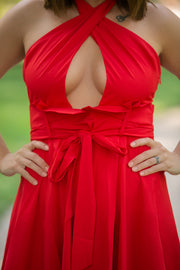 Paper Bag Waist Halter Neck Dress In Red - Phoebe Jane