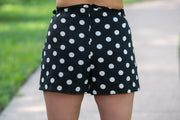SugarLips - Kierra Shorts with Tie Belt In Black And White Polka Dots - Phoebe Jane