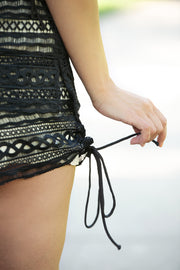 SugarLips - Rosetta Crochet Lace Shorts In Dark Grey - Phoebe Jane