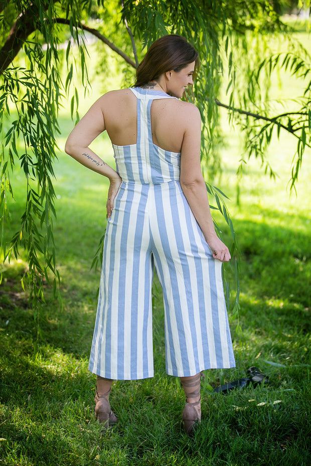 SugarLips - Bahama Mama Striped Jumpsuit With Open Back Detail In White And Powder Blue Stripes - Phoebe Jane