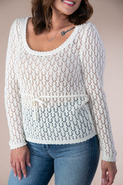 Storia - Lightweight Knit Sweater With Tie Waist In Ivory - Phoebe Jane