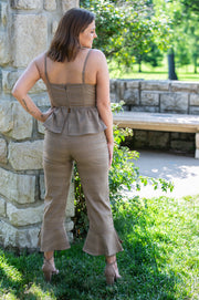 SugarLips - Mai Tie Front Waist Cami Shirt In Brown - Phoebe Jane