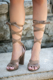 Ankle Wrap Tie High Heel In Taupe - Phoebe Jane